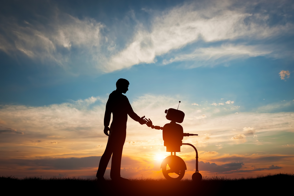 Human and Robot meet and handshake